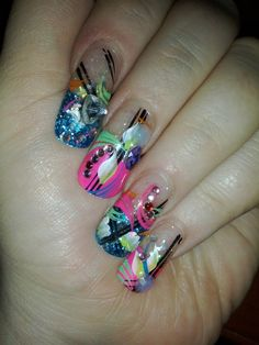 my 3D gel manicure with freehand design and rhinestone embellishments