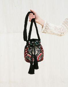 BSK ethnic bag with mirror detail - Bags - Bershka United Kingdom Japanese Knot Bag, Potli Bags, Ethnic Bag, Boho Bags, Side Bags, Craft Bags, Beaded Bags, Fabric Bags, Vintage Bags