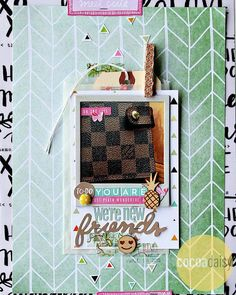 We're New Friends, by Alissa Fast using the 5 o'Clock Collection from www.cocoadaisy.com #cocoadaisy #scrapbooking #kitclub #layout #8.5x11 #planner #pineapple #hidden #journaling