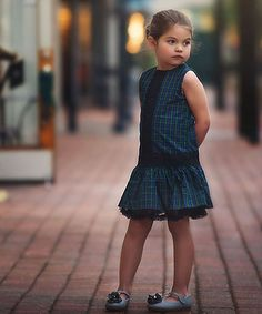 Another great find on #zulily! Blue & Green Tartan Drop-Waist Dress - Toddler & Girls #zulilyfinds