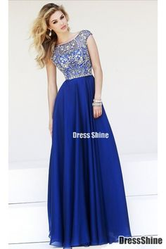 2015 Prom Dresses A-Line Scoop Floor-Length Chiffon Dark Royal Blue Beaded Bodice - PROM