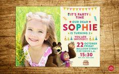 Masha and the Bear Birthday Invitation  Masha by RedBalloonDesign