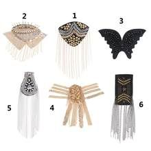 - High Quality fringe shoulder epaulettes, with black back, you need sew it on you blazer and suit. Bead Embroidery Tutorial, Beaded Embroidery, Fashion Illustration Dresses, Punk, Shape Patterns, Back To Black, Types Of Metal, Badge, Tassels