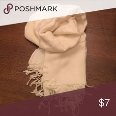 """Scarf Fringe scarf in cream color. Size is 64"""" long X 25"""" wide. Accessories Scarves & Wraps"""