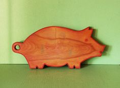 Wooden Pig Cutting Board, Vintage Pig Wall Hanging