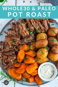 Fall-apart tender this Pot Roast is the ultimate comfort food You can get an it cooked all day flavor in a fraction of the time thanks to using an Instant Pot You ll also find slow cooker and oven instructions too paleodinners Healthy Pot Roast, Easy Pot Roast, Healthy One Pot Meals, Pressure Cooker Pot Roast, Slow Cooker Roast, Carne Asada Slow Cooker, Slow Cook Pot Roast, Pot Roast Recipes, Eating Clean