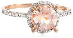 10k Rose Gold Morganite and Diamond Round Ring, Size 7