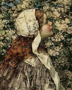 Spring Bloom in Painting. Edward Atkinson Hornel, Girl in Spring Blossoms