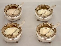 Sweet or Salty? Add a touch of both to your party with this set of 4 crested Georgian silver salt and sugar spoons from Eastdale Antiques