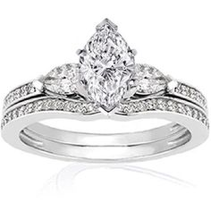 11 ct marquise shaped diamond wedding rings pave set by fascinating diamonds http