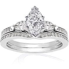 1.1 Ct Marquise Shaped Diamond Wedding Rings Pave Set by Fascinating Diamonds, http://www.amazon.com/dp/B005FL7WW8/ref=cm_sw_r_pi_dp_uWRKpb0ZS889M