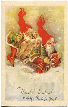 Eeli Jaatinen Ghost Of Christmas Past, Christmas Deco, Christmas Wishes, Christmas Greetings, Christmas And New Year, Vintage Christmas Cards, Vintage Cards, Baumgarten, New Year Postcard