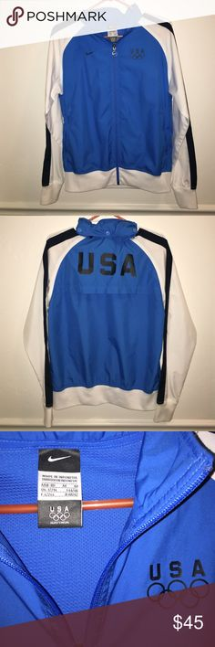 Rare and Fabulous Nike Olympic jacket Perfect time to wear this Nike light weight jacket to support the USA teams at the Olympics. This jacket is in great condition with minimal wear on the right cuff as shown. It has a roll up hood, front zip pockets and a pocket for headphones in the left zip pocket as well as mesh venting in the back of the jacket. Definitely not something that everyone has! Nike Jackets & Coats