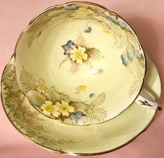 Pretty in Pink-and Yellow-Paragon Double Royal Warrant Teacup and Saucer