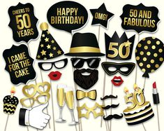 birthday photo booth props: printable PDF Black and gold Dirty thirty props Thirtieth birthday party supplies Mustache, lips black color rgb - Black Things Thirty Birthday, 70th Birthday Parties, 50th Party, Gold Birthday, Gold Party, Men Birthday, 50th Birthday Party Ideas For Men, Birthday Sayings, 30th Birthday Decorations
