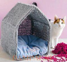 мягкий домик для кошки Animal Projects, Animal Crafts, Craft Font, Braided Rag Rugs, Cat Perch, Cat Hacks, Cat Dog, Pet Treats, Cat Furniture