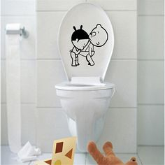 new 1pcs wall stickers cartoon wall stickers bathroom toilet toilet funny removable wall sticker small broken child toilet.7z