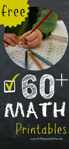 Math Worksheets: Over 60+ Free Math Printables PreK-3rd Grade | Free Homeschool Deals ©