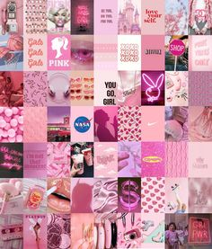 Wall Collage Decor, Bedroom Wall Collage, Photo Wall Collage, Picture Wall, Wall Decor, Room Decor, Cool Wall Art, Pink Wall Art, Pink Wallpaper Iphone