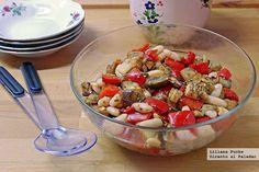 Ensalada de alubias blancas con hortalizas asadas. Receta