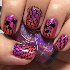 Bright holo gradient nail art, palm trees nail art