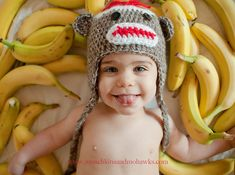 Newborn or baby sock monkey picture