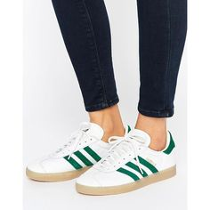 adidas Originals Leather Gazelle Unisex Sneakers With Gum Soles ($100) ❤ liked on Polyvore featuring shoes, sneakers, green, lace up sneakers, leather shoes, adidas trainers, green shoes and leather upper shoes