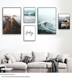 Sea Waves Landscape Canvas Poster Nordic Style Inspirational Wall Art Print Painting Decoration Picture Scandinavian Home Decor - ROOM ARTS