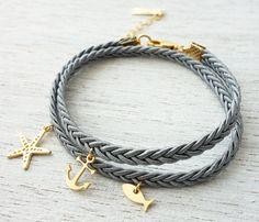 Beach Bracelet, friendship bracelet, wraparound bracelet, charm bracelet