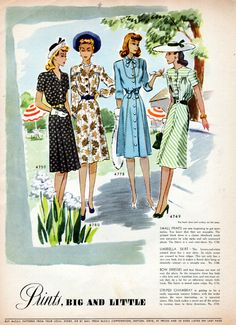 1930's or Early 40's McCalls Pattern Clothing Ad 8 Pages Full of Fashions 608   eBay