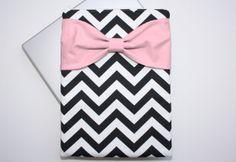 MacBook Pro / Air Case Laptop Sleeve - Black and White Chevron Medium Pink Bow by AlmquistDesignStudio on Etsy