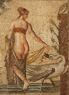 Cyprus, Kouklia, (Κουκλια), Palaiá Pafos Museum, Roman mosaic of Leda and the Swan, 2nd-3rd C., detail. by monopthalmos, via Flickr
