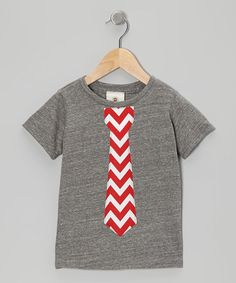 Take a look at this Dark Gray & Red Zigzag Tie Tee - Toddler & Boys by Million Polkadots on #zulily today!
