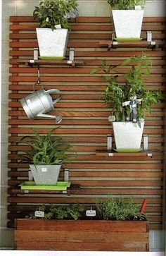 Ideia para horta vertical na sacada pequena!                                                                                                                                                      Mais