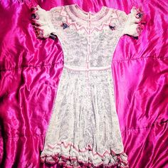 Floral crochet peasant dress Pink - boho - hippie - festival - bohemian - free people inspired - flowers - embroiled- embroidery - Dresses