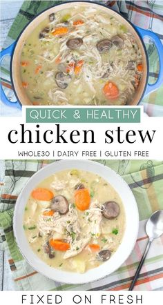 Chicken Stew Creamy chicken stew is a healthy, dinner that is gluten free and dairy free. The perfect weeknight dinner on a chili night. Dairy Free Recipes, Paleo Recipes, Soup Recipes, Chicken Recipes, Drink Recipes, Walnut Recipes, Recipes Dinner, Cooker Recipes, Recipies