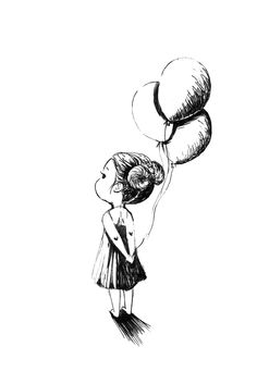 """Pen and Ink Drawing """"Balloons"""" Girl Holding Balloons, Its A Girl Balloons, Pencil Art Drawings, Cute Drawings, Drawing Sketches, Simple Drawings, Drawing Art, House Drawing, Daily Drawing"""