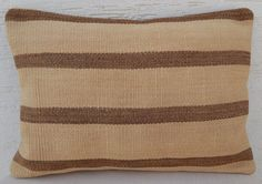 14x20 Beige Colors and Brown Stripes Lounge Cafe Home Decor  Kilim Pillow Cover #Handmade #Ethnic