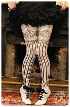 ☛Ships Monday! ★ the Burlesque Legging! ~Intricate hand-drawn lace and garters atop vertical stripes and a pretty bow at the back!~ Make the Streets your Stage! ➟➠☛Available in Small, Medium, Large &