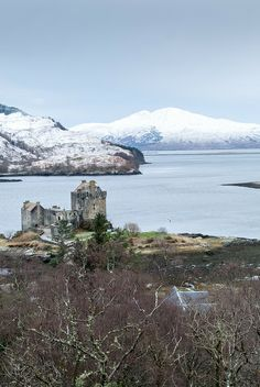 Eilean Donan Castle is on a small tidal island where three lochs meet, Loch Duich, Loch Long and Loch Alsh, Scotland - winter