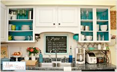 Mom 4 Real: Open Cabinets With White, Aqua, Lime Green, & Silver Accents, Plus Some Huge News!