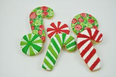 Candy Canes Christmas candy Cookies - half a Dozen - Cute decorated iced holiday sugar cookies - willy wonka - sweets -peppermint swirl