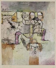 """Paul Klee 'Salome' 1920 Oil transfer drawing and watercolor over chalk priming on paper laid down on the artist's mount 8 5/8 x 7 1/8"""""""