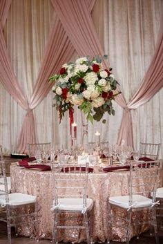 wedding reception clear chair texture linen tall centerpiece greenery white hydrangea rose red wedding centerpieces tall Elegant Fall Wedding with Burgundy & Gold Color Palette in Florida - Inside Weddings Fall Wedding Centerpieces, Fall Wedding Flowers, Fall Wedding Colors, Flower Centerpieces, Wedding Bouquets, Wedding Decorations, Table Decorations, Wedding Ideas, Centerpiece Ideas