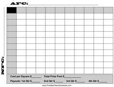 Printable 100 square football pool sheet Super Bowl block pool ...