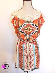 Orange and Rust Tribal Tie Dress $44.99 Divalicious