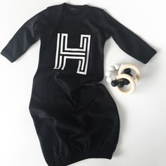 First Initial Newborn Gown - $17.87   Modern Kid Co (available in white and onesie form)