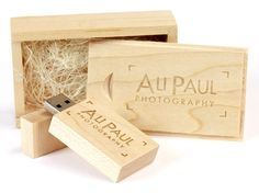 Engraved USB Flash Drives boxed up in a very attractive (and engraved) USB gift box - an ideal package for wedding photographers!