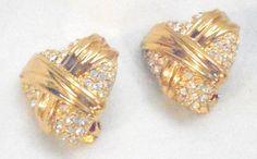 Pave Rhinestone Clip Heart Earrings #Unbranded #heart