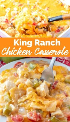 This King Ranch Chicken Casserole is a combo of chopped chicken, cheese, tortillas, and spicy tomatoes in a creamy sauce, and is a sure-fire hit. via @familyfresh Crockpot Chicken Casserole, King Ranch Chicken Casserole, Mexican Chicken Casserole, Easy Casserole Recipes, Family Fresh Meals, Family Recipes, Pasta, Easy Chicken Recipes, Easy Recipes